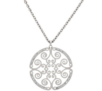 """As Is"" Stainless Steel 18"" Round Medallion Necklace - J332088"