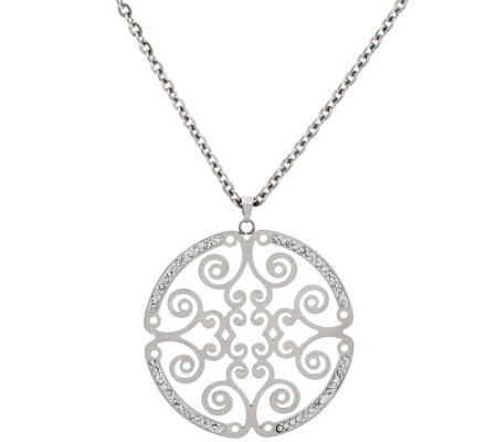 """As Is"" Stainless Steel 18"" Round Medallion Necklace"