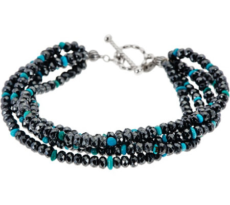 Sterling Five Strand Bead Bracelet with Turquoise by American West