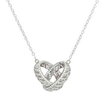 """As Is"" TOVA Diamonique Love Necklace, Sterling or 14K Clad - J333588"