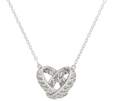 """As Is"" TOVA Diamonique Love Necklace, Sterling or 14K Clad"