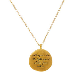 "Maya Angelou ""The Light"" 14K Gold Plated Quote Pendant by Dogeared - J333788"