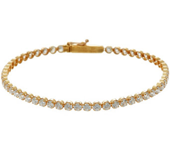 "Diamonique 3.70 cttw 7-1/4"" Tennis Bracelet 14K Gold - J335088"