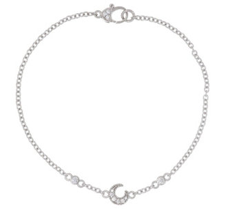 """As Is"" Judith Ripka Sterling Diamonique Moon 10"" Anklet - J335488"