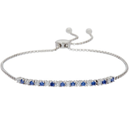 Diamonique and Simulated Tanzanite Bracelet, Sterling