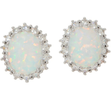 Diamonique and Simulated Opal Stud Earrings, Sterling