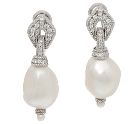 Judith Ripka Sterling Cultured Pearl Drop Earrings