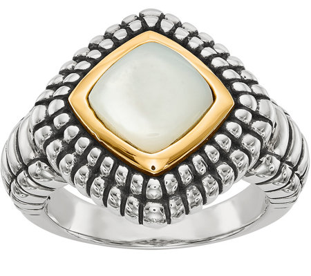 Sterling & 14K Square Mother of Pearl Ring