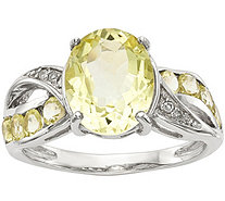 Sterling Oval Gemstone & Diamond Ring - J378188
