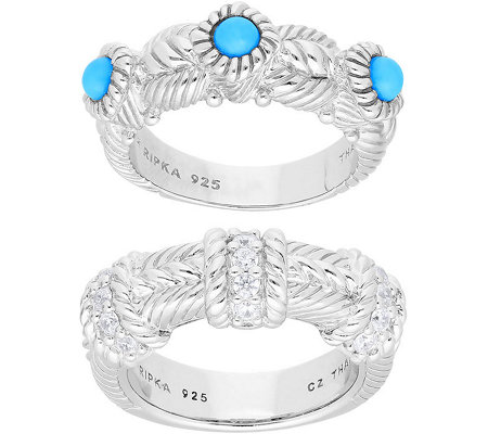 Judith Ripka Sterling Turquoise &  Diamonique Rings, Set of 2