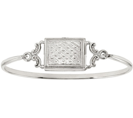 Sterling Rectangular Locket Bangle, 13.8g by Silver Style
