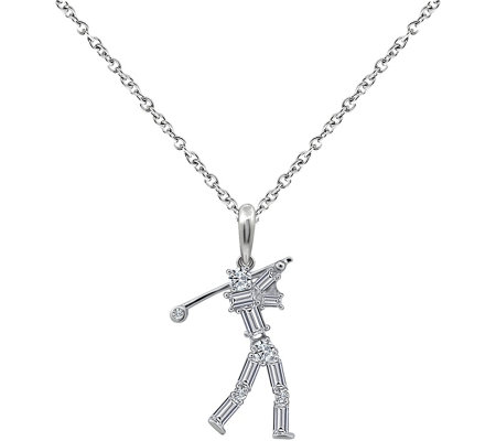 Diamonique Sterling Golfer Pendant with Chain
