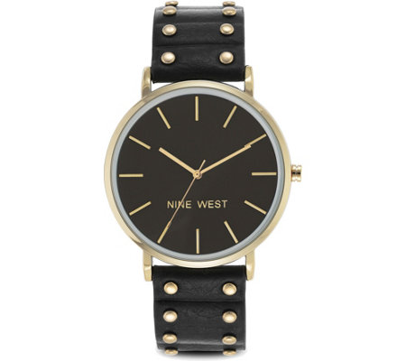 Nine West Ladies Hartsleigh Black Strap Watch
