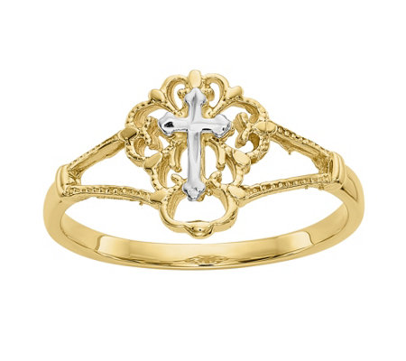 14K Gold Two-Tone Cross Ring