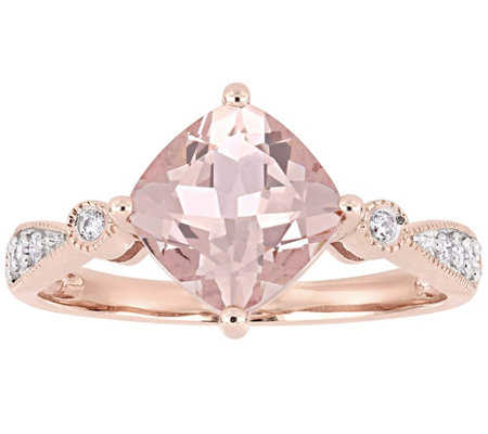 14K Gold 2.00 cttw Cushion-Cut Morganite & Diamond Ring