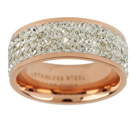 Stainless Steel Silk Fit Rose Gold Crystal Band Ring