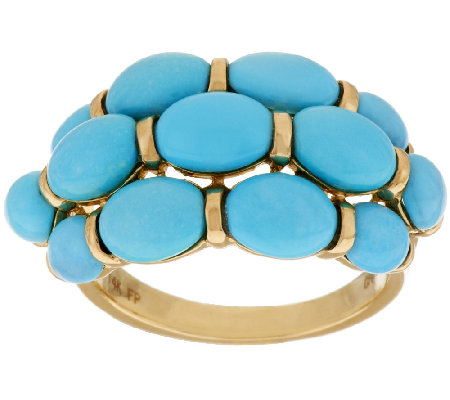 Sleeping Beauty Turquoise 3-Row Band Ring, 14K Gold
