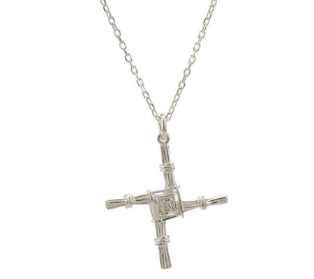 "JMH Jewellery Sterling Silver St. Bridget's Cross Pendant on 18"" Chain"
