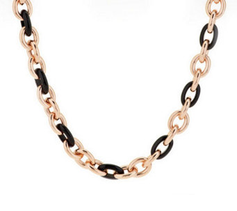 "Bronze 24"" Gemstone Rolo Link Necklace by Bronzo Italia - J271989"