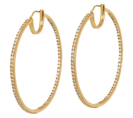 "Diamonique 14K Gold Clad 2"" Inside-Out Hoop Earrings"