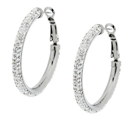 Stainless Steel Crystal Round Omega Back Hoop Earrings