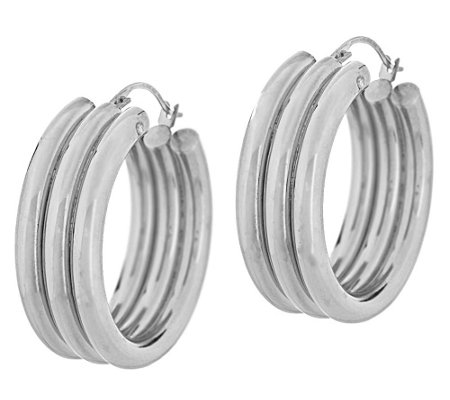 "Triple Row Design 1"" Hoop Earrings, 14K"