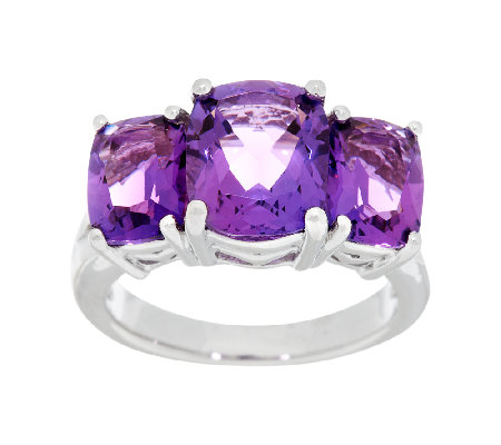 4.60 ct tw Amethyst 3-Stone Cushion Cut Sterling Ring