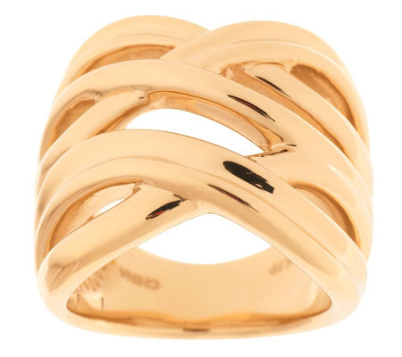 """As Is"" Bold Double Crossover Design Polished Ring, 14K Gold"