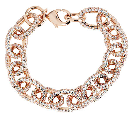 "Bronze 7-1/4"" Pave' Crystal Oval Rolo Link Bracelet by Bronzo Italia"