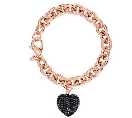 """As Is"" Bronzo Italia 7-1/4"" 4.00 cttw Black Spinel Heart Bracelet"