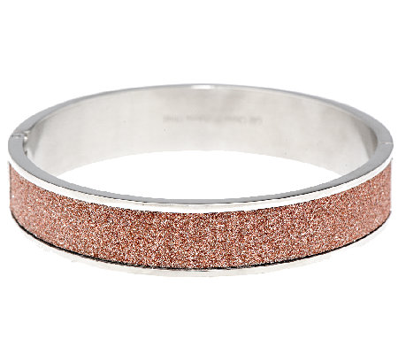 Stainless Steel Glitter Hinged Bangle