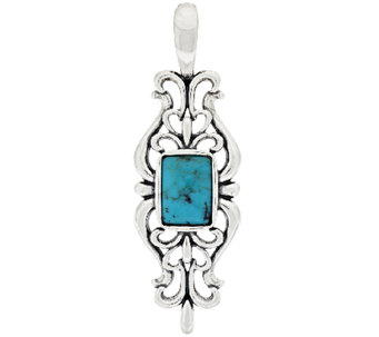 American West Sterling Scroll Design Turquoise Enhancer - J294789