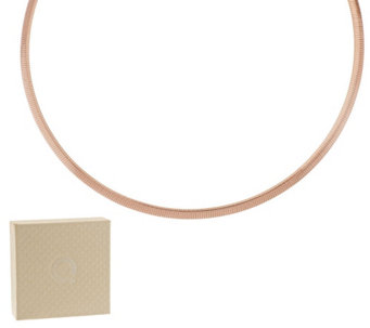 "Bronze 18"" Polished 4mm Omega Necklace by Bronzo Italia - J296589"