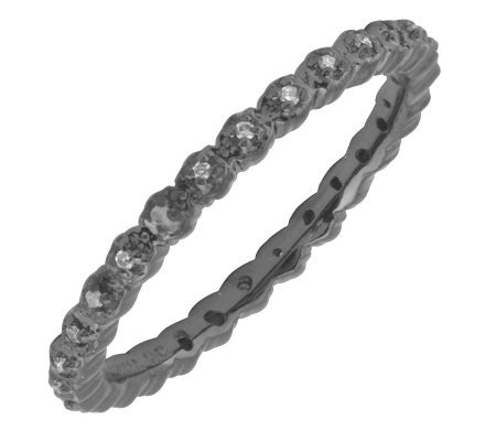 Simply Stacks Sterling Diamond Black Rhodium-Plate 2.25mm Rin