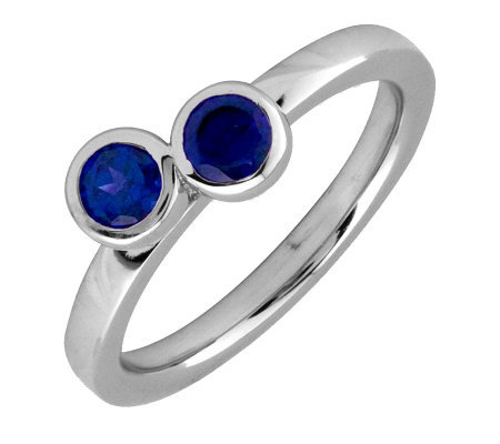 Simply Stacks Sterling & Created-Sapphire Double Circle Ring
