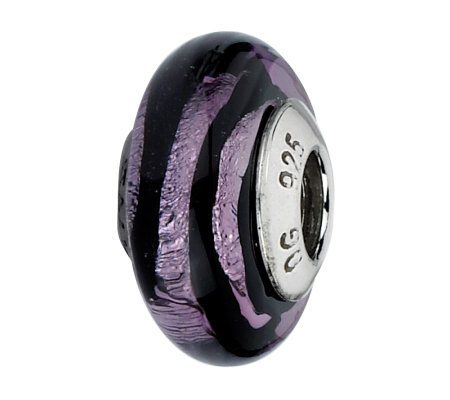Prerogatives Purple & Black Stripes Italian Murano Glass Bead