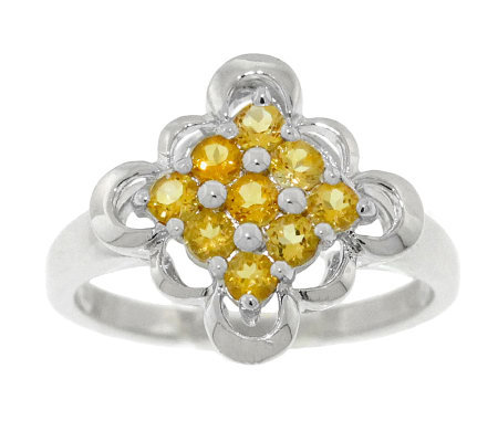 Sterling 0.50 ct tw Citrine Scalloped-Edge Ring