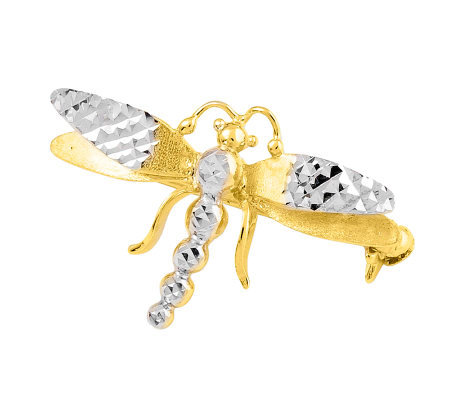 Dimensional Two-tone Dragonfly Pin, 14K Gold