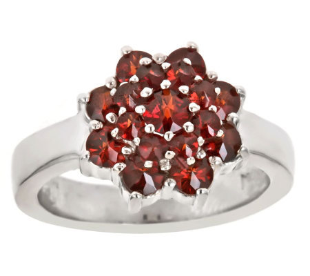 1.40 ct tw Garnet Cluster Ring, Sterling
