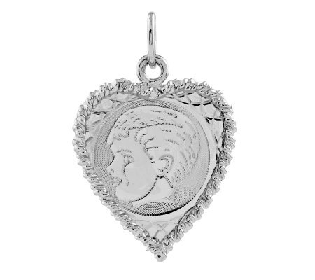 Sterling Rope Border Heart Shaped Boy Pendant