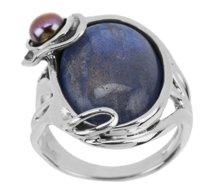"""As Is"" Hagit Sterling Labradorite & Cultured Pearl Ring"