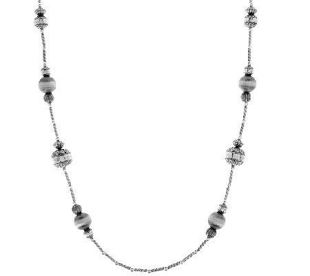 "Stamped Bead Sterling 36"" Station Necklace by American West"
