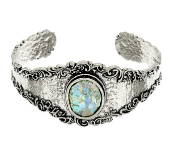 Sterling Silver Gemstone or Roman Glass Lace Cuff by Or Paz - J322989
