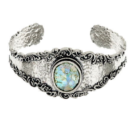 Or Paz Sterling Silver Gemstone or Roman Glass Lace Cuff