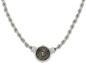 "Judith Ripka Sterling 18"" Verona Coin Station Rope Necklace - J323189"