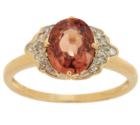 """As Is"" Premier 2.50 ct Thai Rose Zircon 1/10cttwDiamond Ring, 14K"