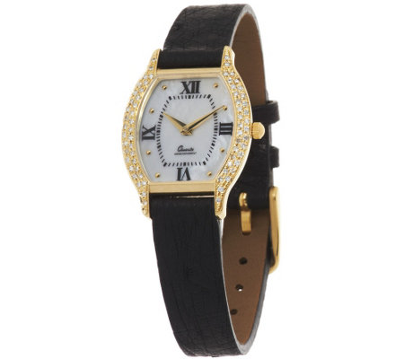 """As Is"" Vicence 3/10 ct tw Diamond Tortue Dial Leather Strap Watch 14K"