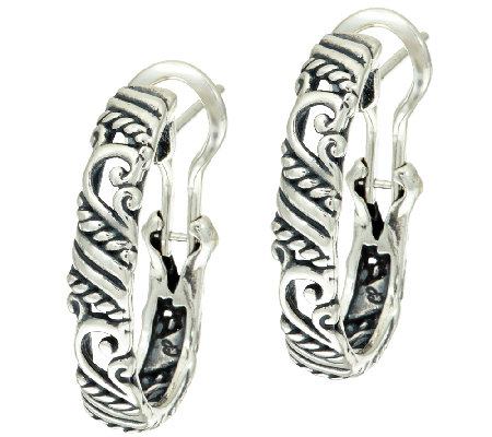 "Carolyn Pollack Sterling Signature 1"" Oval Hoop Earrings"