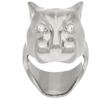 Bronze Polished Panther Head Ring by Bronzo Italia