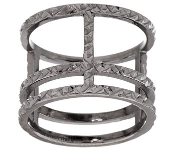 """As Is"" VicenzaSilver Sterling Diamond Cut Triple Bar Ring - J325989"